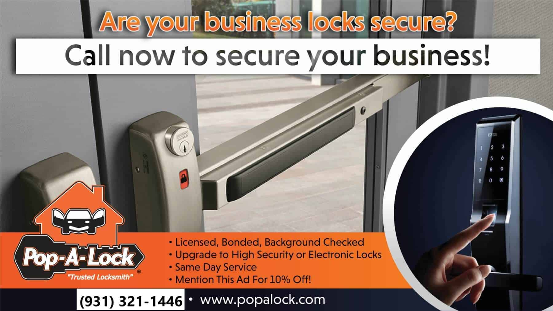 Are your business locks secure? Call now to secure your business Pop-A-Lock Clarksville